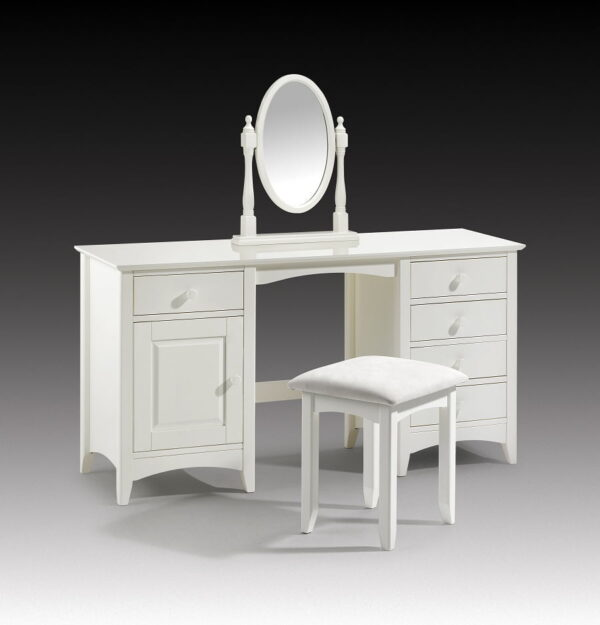 Cameo Stone White Lacquered Twin Pedestal Dressing Table