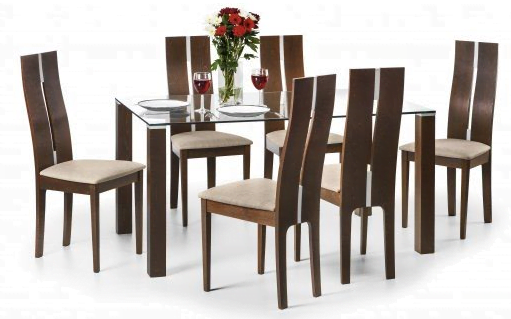 Cayman Four Seat Dining Set Solid Beech Wood stained Walnut High Back Chairs