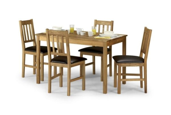 Coxmoor Large Dining Table With 4 Intense Dark Brown Chairs In Soild American Oak