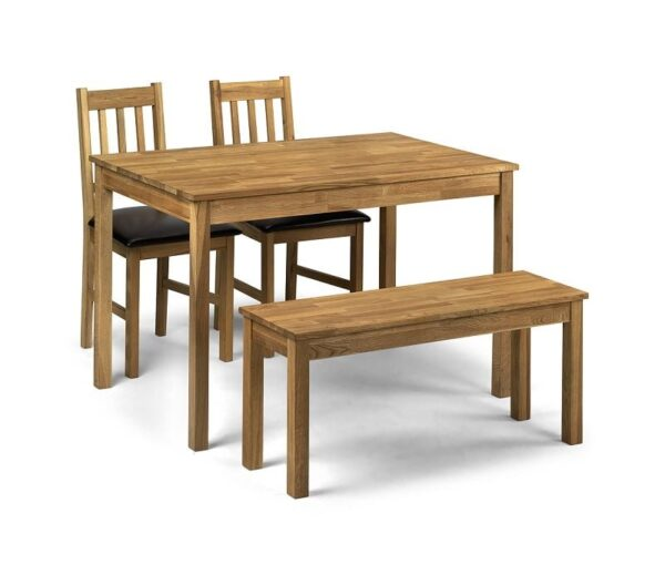 Coxmoor Large Dining Table With 2 Intense Dark Brown Chairs And 1 Bench In Soild American Oak
