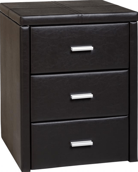 Prado 3 Drawer Bedside Chest in Brown PU Leather
