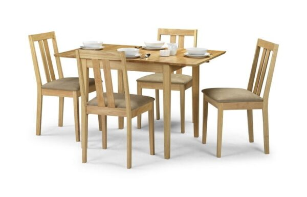 Rufford Solid Wood Extending Butterfly Dining Set in Natural Finish + 4 Chairs
