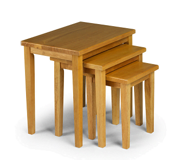 Cleo Nest Of Tables Solid Rubberwood With a Light Oak Stain