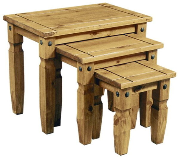 Corona Distressed Waxed Pine Nest Of 3 Tables