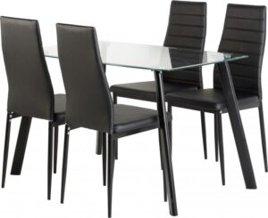 Abbey Dining Table In Black OR White with 4 Faux Leather Chairs
