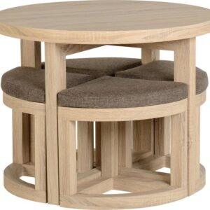 Cambourne Stowaway Dining Set Table With 4 Brown Fabric Chairs Oak Foil Veneer