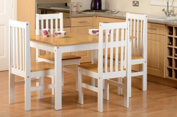 Ludlow Dining Set in Oak Effect with 4 White chairs