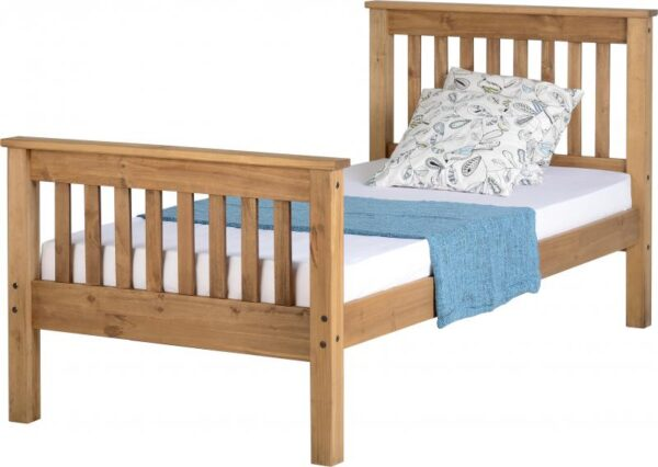 Monaco Single Solid Distressed Waxed Pine High Foot End Bed Frame