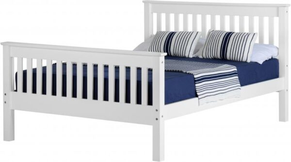 Monaco King Size Solid Pine High Foot End Bed Frame in White