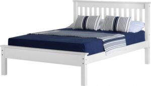 Monaco King Size Bed Low Foot End Bed Frame in White