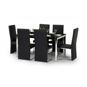Tempo Black Glass Dining Set Table 4 OR 6 Chairs Black PU Leather Chrome
